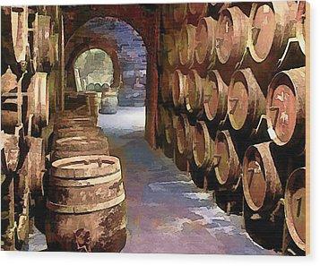 Wine Barrels In The Wine Cellar Wood Print by Elaine Plesser