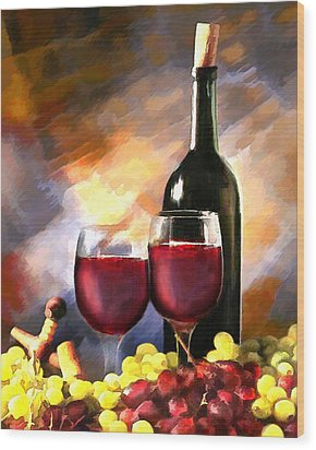 Wine Before And After Wood Print by Elaine Plesser