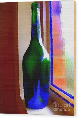 Wine Bottle Wood Print by Chris Butler