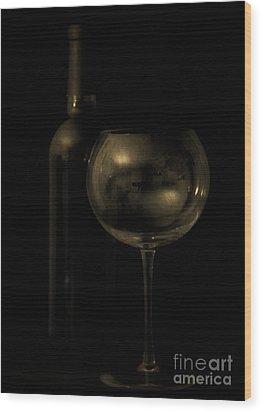 Wine Bottle Still Life Deep Red Wood Print by Edward Fielding