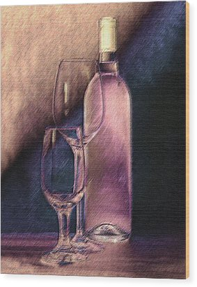 Wine Bottle With Glasses Wood Print by Tom Mc Nemar