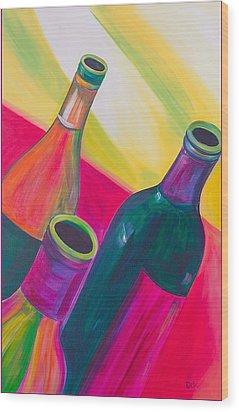 Wine Bottles Wood Print by Debi Starr