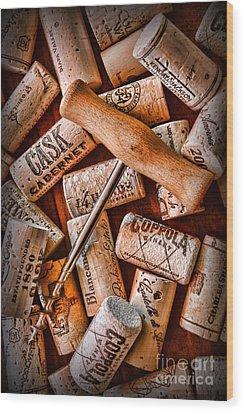 Wine Corks With Corkscrew Wood Print by Paul Ward