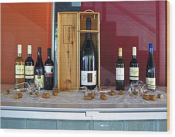 Wine Display Wood Print by Sally Weigand