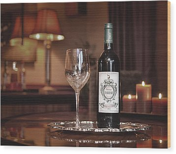 Wine For One Wood Print by Dennis James