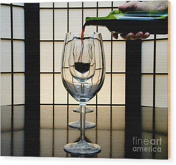 Wine For Three Wood Print by John Debar