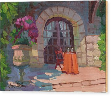 Wine For Two Wood Print by Diane McClary