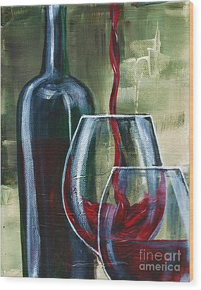 Wine For Two Wood Print by Lisa Owen-Lynch