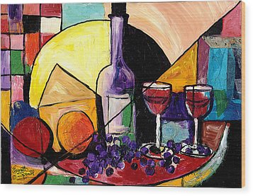 Wine Fruit And Cheese For Two Wood Print by Everett Spruill