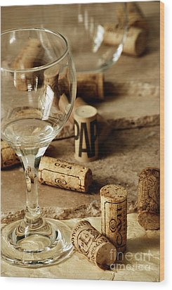 Wine Glass And Corks Wood Print by HD Connelly