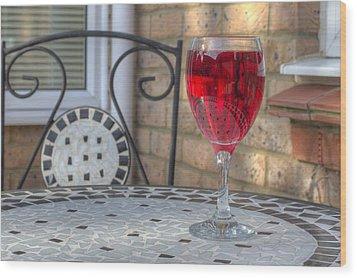 Wine Glass On Table Al Fresco Wood Print by Fizzy Image