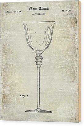 Wine Glass Patent Drawing Wood Print by Jon Neidert