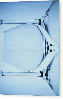 Wine Glasses 4 Wood Print by Rebecca Cozart