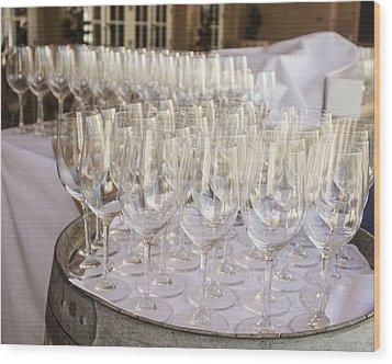 Wine Glasses Wood Print by Dee  Savage