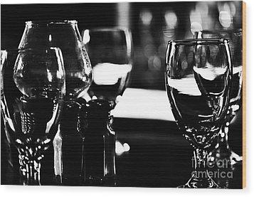 Wine Glasses On Table Wood Print