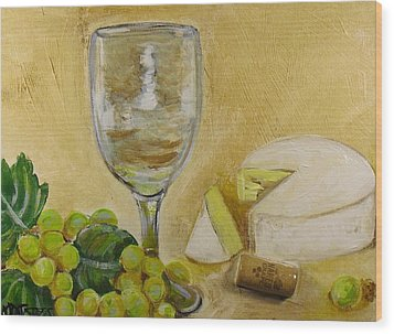 Wine Grapes And Cheese Wood Print by Melissa Torres
