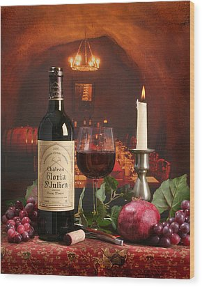 Wine In Le Cav Wood Print by Mel Felix