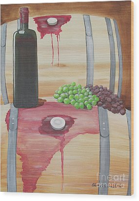 Wine N Grapes Wood Print