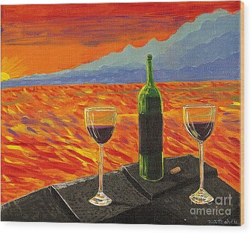 Wine On Sunset Terrace Wood Print by Vicki Maheu