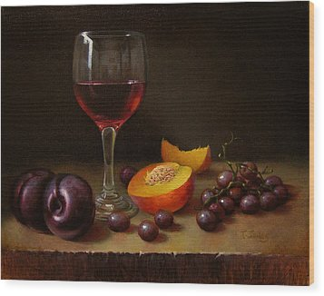 Wine Peach And Plums Wood Print