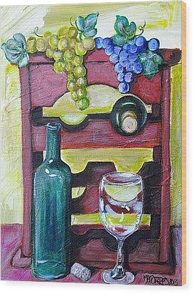 Wine Rack  Wood Print by Melissa Torres