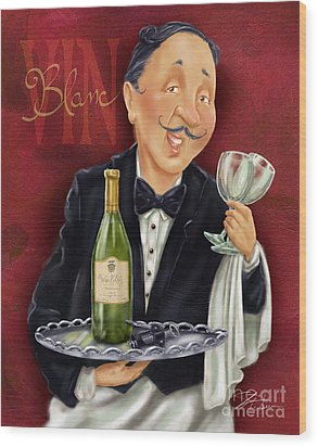 Wine Sommelier Wood Print by Shari Warren
