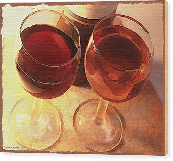 Wine Toast In Watercolor Wood Print by Elaine Plesser