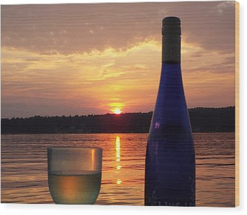 Wine Water Sunset Wood Print
