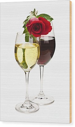 Wine With Red Rose Wood Print by Elena Elisseeva