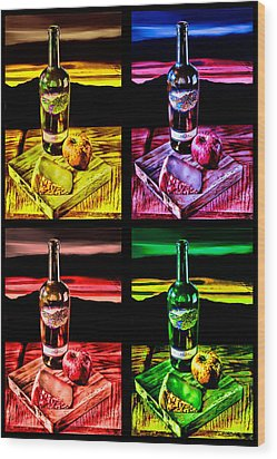 Wood Print featuring the digital art Wine X 4 by Sharon Beth