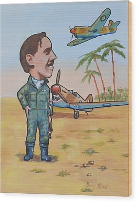 Wood Print featuring the painting Wing Cdr.clive Caldwell by Murray McLeod