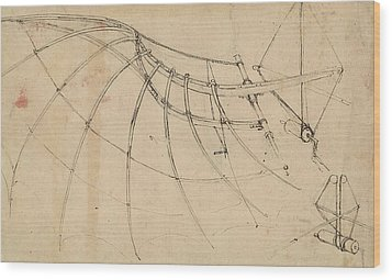 Wing Covered With Cloth And Moved By Means Of Crank Winch Below Right Detail Of Winch Wood Print by Leonardo Da Vinci
