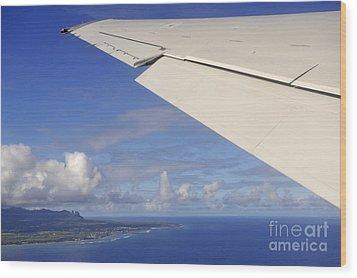 Wing Of Airplane Leaving Wood Print by Sami Sarkis