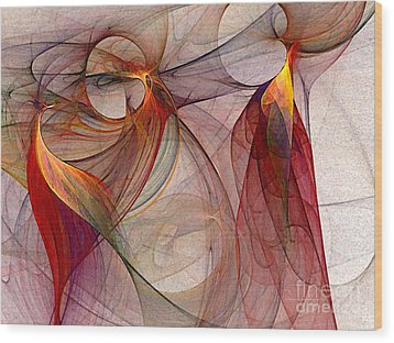 Winged-abstract Art Wood Print by Karin Kuhlmann