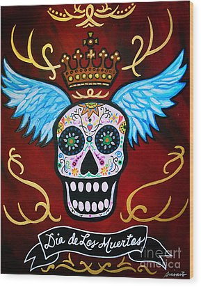 Wood Print featuring the painting Winged Muertos by Pristine Cartera Turkus