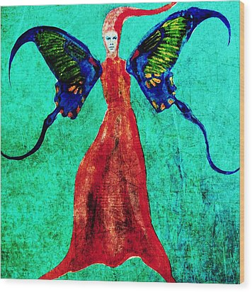 Wood Print featuring the digital art Wings 13 by Maria Huntley