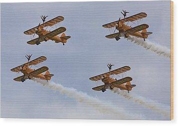 Wingwalkers  Perfect Sync Wood Print by Maj Seda