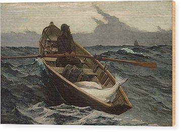 Winslow Homer The Fog Warning Wood Print by Winslow Homer