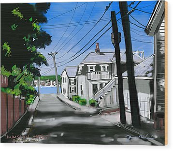 Wood Print featuring the painting Winslow Street by Jean Pacheco Ravinski