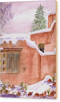 Wood Print featuring the painting Winter Adobe by Paula Ayers