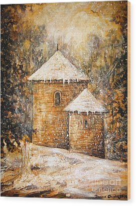Winter Angel Wood Print