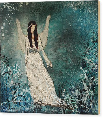 Winter Angel Inspirational Christian Mixed Media Painting  Wood Print by Janelle Nichol