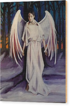Wood Print featuring the painting Winter Angel by Irena Mohr