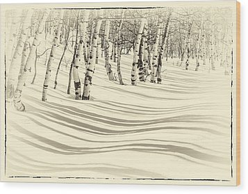 Winter Aspen Wood Print