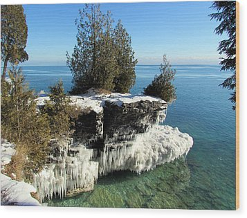 Winter At Cave Point Wood Print by David T  Wilkinson