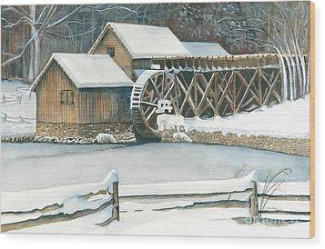 Winter At Mabry Mill Wood Print