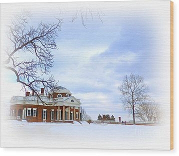 Winter At Monticello Wood Print