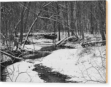 Winter At Pedelo Black And White Wood Print by Deena Stoddard
