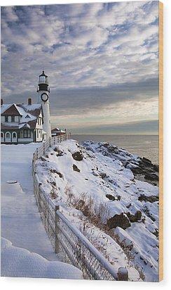 Winter At Portland Head Wood Print