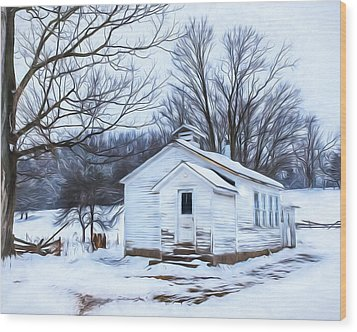 Winter At The Amish Schoolhouse Wood Print